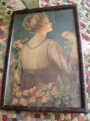 Antique Early 1900s Arts & Crafts Era Framed Print Lady With Roses & Mirror