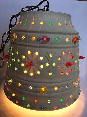 Hanging LIGHT LAMP Plug In BLOW MOLD PLASTIC Birds Flowers PEGS Lawnware LARGE