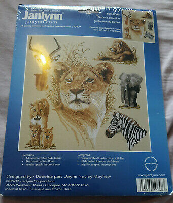 "BNWT Janlynn Safari Collection 106-0048 counted cross stitch kit 16""x16"""