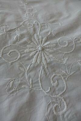 Vintage white cotton bedspread - whitework hand embroidery & crochet lace