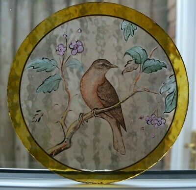 Handpainted kiln fired 179mm diameter roundel (for stained glass window). S962.