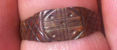 Byzantine Bronze Cross Ring With 5 Wounds Of Christ