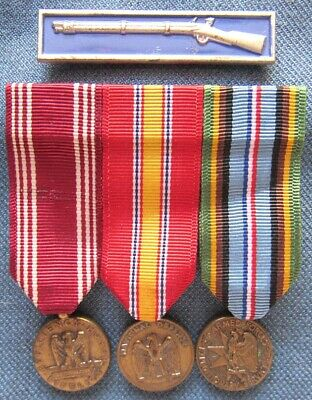 US Army sterling Expert Infantryman Badge & enlisted mounted mini-medal set