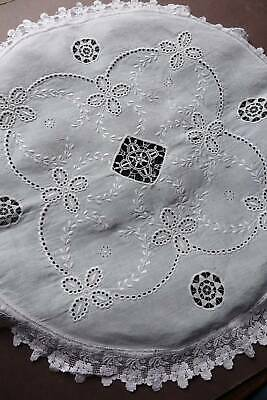 Antique white linen boudoir cushion cover with hand embroidery & lace.