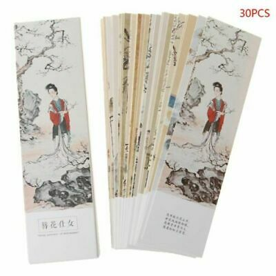 30pcs Chinese Style Retro Paper Bookmarks Painting Card Beautiful Bookmark Boxed