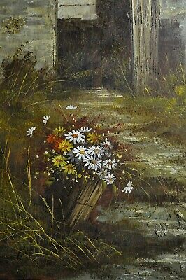 """32""""x28"""" Framed 'Wild Flowers' Oil Painting Nature Floral Daisy Grass"""
