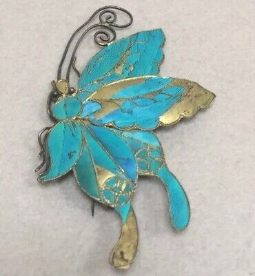 Large Antique Chinese CHINA Export Kingfisher Feather Butterfly Pin 3 inches