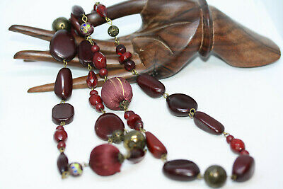 """Fine Vintage Old Chinese Cloisonne 32"""" Long Crystal Stones Beaded Women Necklace"""