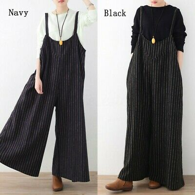 Womens Dungarees Harem Strap Pants Loose Jumpsuit Baggy Trousers Overalls Romper
