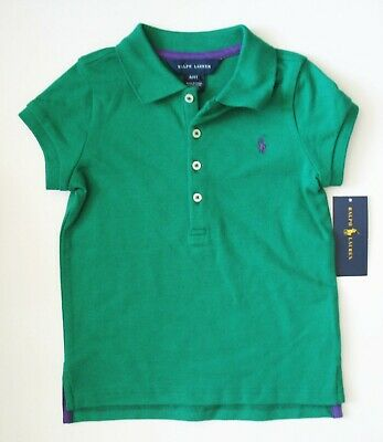 Ralph Lauren Girls Cotton Short Sleeve Polo Shirt Billiard Sz 3/3T - NWT