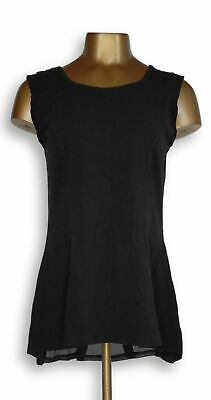Kathleen Kirkwood Women's Top Sz M Swing Cami w/Georgette Black A272884
