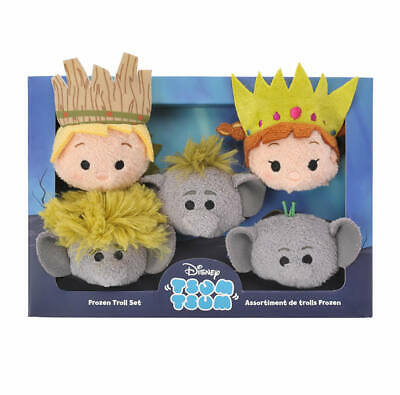 Disney Tsum Tsum Frozen Anna Kristoff Troll Soft Plush Stuffed Toy Box set NEW