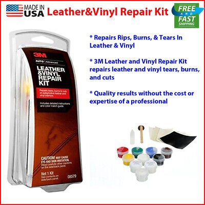 New! 3M Leather and Vinyl Repair Kit Car Home Office Fix Patch Tears Burns Holes