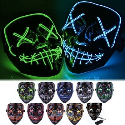 4 Modes Halloween Stitched Light Up Mask Purge Movie Flash LED Wire Scary Masks