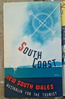 Vintage 1939 Tourist Guide booklet  South coast NSW Poster Henry J. Weston