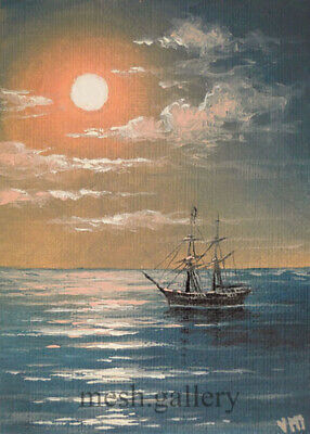 "203 - 5""x7"" CANVAS GICLEE ART PRINT SEASCAPE Night MOON Ship Atlantic Ocean MESH"