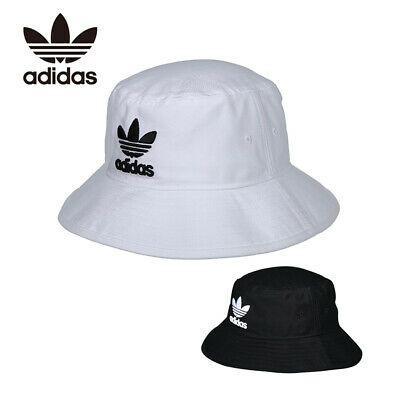 Adidas Originals Bucket Hat Black White with Embroidered Trefoil Logo One Size