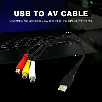 USB Male A to 3 RCA AV A/V TV Adapter Cord Cable USB to 3RCA Audio Video Cable!