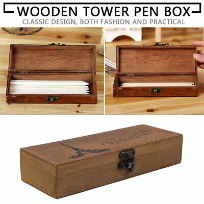 Classic Wooden Eiffel Tower Pen Pencil Case Holder Stationery Storage Box NC