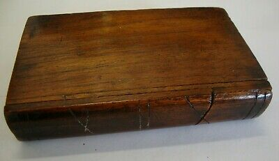 Antique hand made oak puzzle box in the form of a book