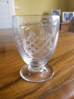 CRYSTAL TUMBLER - With Trial CUTS - Engravers Test Piece- Sales Promo ... RARE