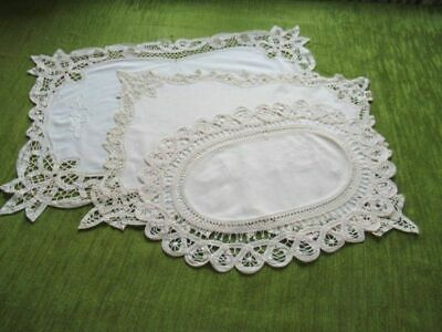 TRAY CLOTHS-TAPE LACE & HAND EMBROIDERY DECORATION-Col of 3