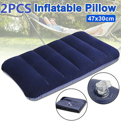 2PCS 47x30CM INFLATABLE FLOCKED PILLOW CAMPING TRAVEL SOFT BLOW UP BLUE LARGE