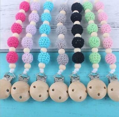 Baby Pacifier Clip Crochet Bead Baby auxiliary teether Prevent falling chain DIY