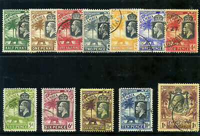 Gambia 1922 KGV short set to 1s very fine used. SG 122-134. Sc 101-113.