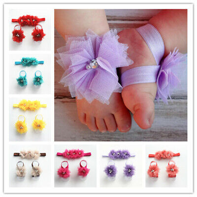 New 1Set/3Pcs Infant Girls Baby Hairband Flower Foot Headband Elastic Hair Band