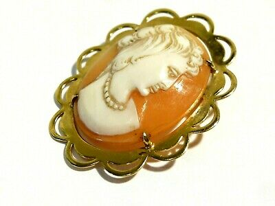 9ct Solid Gold Brooch Real Carved Shell Cameo of a Lady, Hallmarked Birmingham