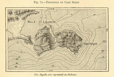 Peninsula of Cape Sepet. Var. St Mandrier, Toulon. SMALL sketch map 1886