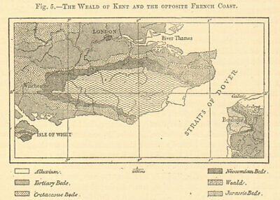 Kent Weald & the Opposite French Coast. Geological. Sketch map 1886 old