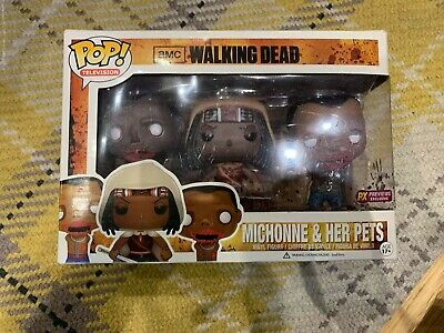 Funko Pop! TV The Walking Dead Michonne and Her Pets 3 Pack PX Preview Exclusive