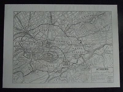 Vintage Map: Athens, Greece, Europe, by Emery Walker, c 1950s, B/W