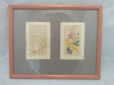 Framed Embroidered Silk Cards - WWI