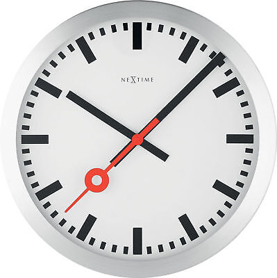 Nextime Wall Clock Railway Station O35cm Silent Living Room Kitchen Watch White