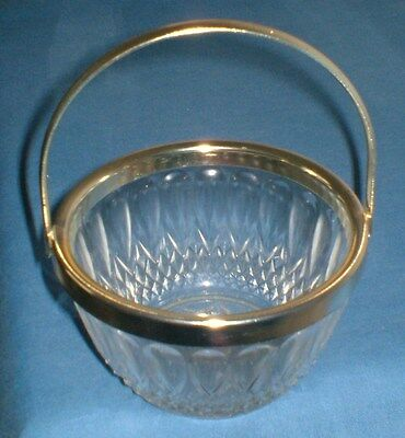 Vintage Glass Bon Bon Dish With Gold Handle And Rim