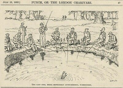 VINTAGE PUNCH 1932 CARTOON - FISHING / ANGLING HUMOR - Last Fish Give Up