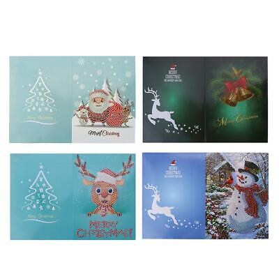 5D DIY Diamond Painting Christmas Greeting Cards Cross Stitch Embroidery E0Xc