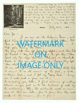 1907 GEORGE STERLING LETTER handwritten at the BOHEMIAN GROVE on CLUB Stationery