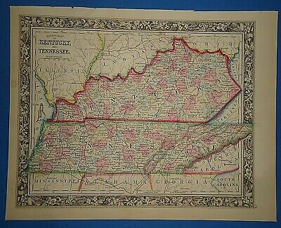 Vintage 1861 KENTUCKY - TENNESSEE MAP Old Antique Original Atlas Map