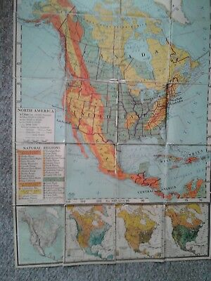 Vtg ATWOOD Regional Political Series Classroom Map North America Nystrom & Co.