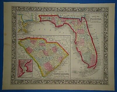 Vintage 1861 FLORIDA - SOUTH CAROLINA MAP Old Antique Original Atlas Map
