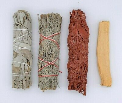 4X: Sage Smudge Stick Bundle Sampler Kit: White, Blue, Dragons Blood, Palo Santo