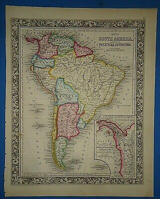 Vintage 1861 SOUTH AMERICA - NEW GRANADA MAP Old Antique Original Atlas Map