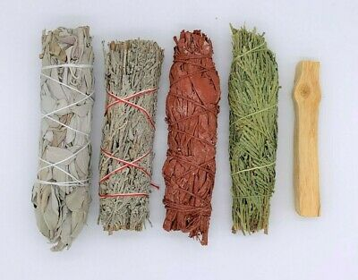 5X:Sage Smudge Stick Sampler Kit: White, Blue, Dragons Blood, Cedar, Palo Santo