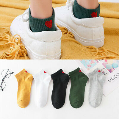 Red Heart Love Cute Socks Simple Basic Fresh Female Sock Warm Soft Girls Great