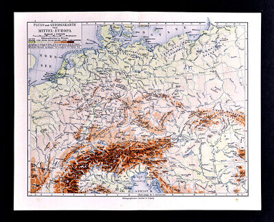 1900 Meyers Map Physical Central Europe Germany Austria Hungary France Alps