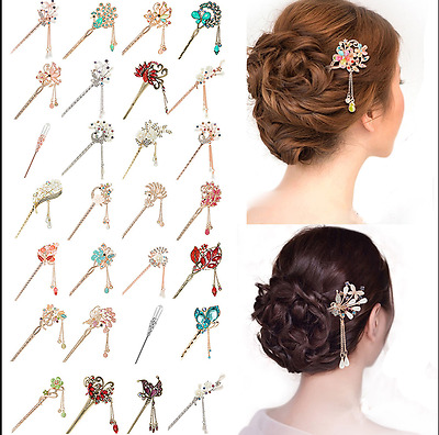Elegant Women Metal Rhinestone Hair Chopsticks Hair Stick Hairpin Chignon Pin